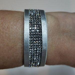 Jewelry - Silver leather Crystal bracelet